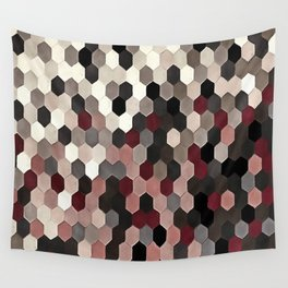 Hexagon Pattern In Gray and Burgundy Autumn Colors Wall Tapestry