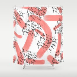 Abstract modern living coral black watercolor brushstrokes Shower Curtain