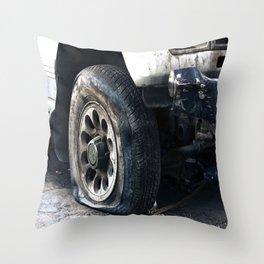Flat Tire! Throw Pillow