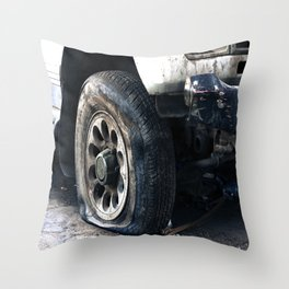 Flat Tire! Throw Pillow