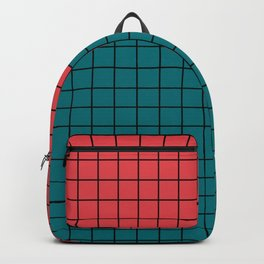 Red turquoise  plaid Backpack