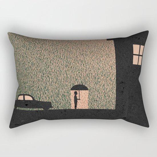Waiting In The Rain Rectangular Pillow
