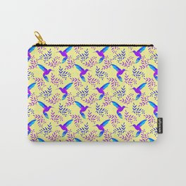 Pretty beautiful cute purple blue hummingbirds, delicate twigs with little leaves yellow pattern. Carry-All Pouch