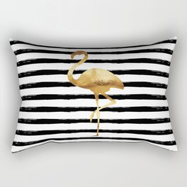 Flamingo & Stripes - Black Rectangular Pillow