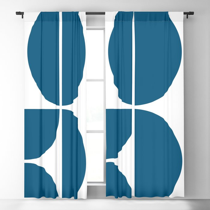 Mid Century Modern Blue Square Blackout Curtain