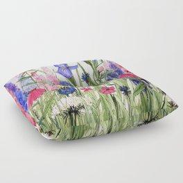 Colorful Garden Flower Painting Floor Pillow
