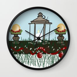 Christmas Mantel With Lantern and Ornaments Wall Clock