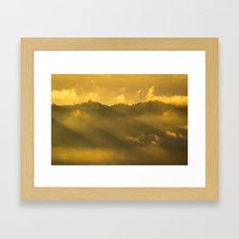 Cloudy mountain sunrise Framed Art Print