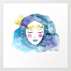 Nebula girl Art Print