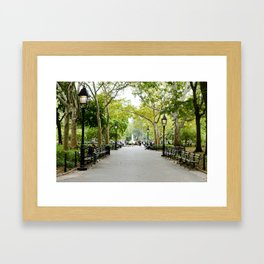 Morning Stroll in the Village Framed Art Print