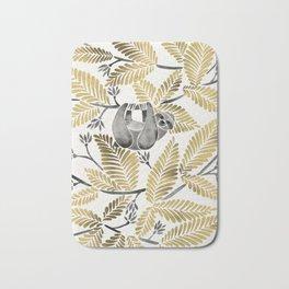 Happy Sloth – Tropical Gold Leaves Bath Mat