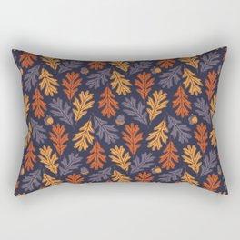 Autumn oak leaves and acorns pattern (dark background) Rectangular Pillow