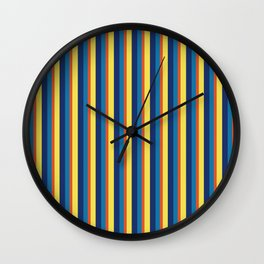 zakiaz blue yellow orange stripe Wall Clock