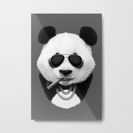 Panda in Sunglasses Metal Print