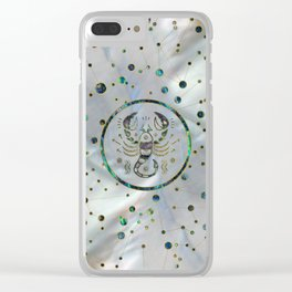 Scorpio Zodiac Gold Abalone on Constellation Clear iPhone Case