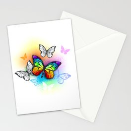 Design with Rainbow butterfly Stationery Cards