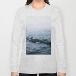 Humpback whale in the minimalist fog - photographing animals Long Sleeve T-shirt