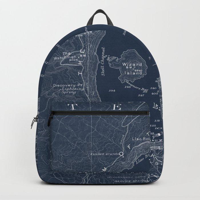 Crater Lake Blueprint Map Design Backpack