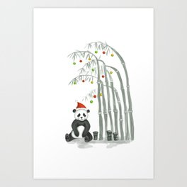 Christmas Panda Art Print
