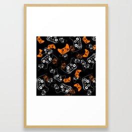 Video Game Orange on Black Framed Art Print