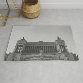 Black & white photo, Victor Emmanuel II Monument, Altar of the Fatherland, Rome photography Rug