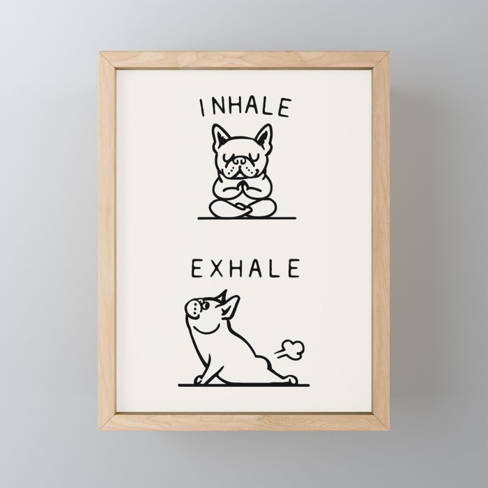 Inhale Exhale Frenchie Framed Mini Art Print