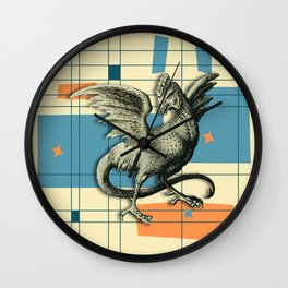 Mythical Cockatrice on Retro Pattern Wall Clock