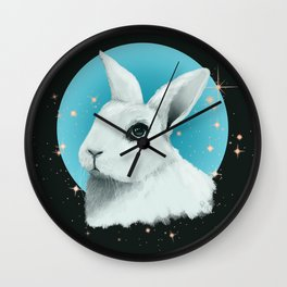 White Rabbit with Blue Orb and Stars Illustration Wall Clock