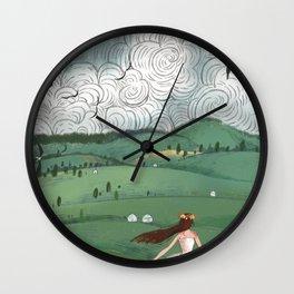 Girl And Fly Birds Wall Clock