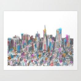San Francisco Coit view Art Print