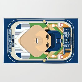 Baseball Blue Pinstripes - Rhubarb Pitchbatter - Victor version Rug