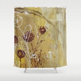 Yellow Tan Spring Abstract Flowers. Jodilynpaintings. Abstract Floral Shower Curtain