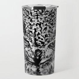 owl winking splatter watercolor black white Travel Mug