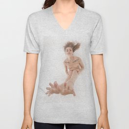 3524-KLM Bare Feet Up Toes Spread Foot Woman on White Unisex V-Neck