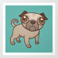 Pug Puppy Cartoon Art Print