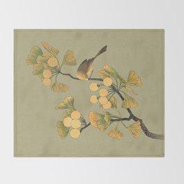 Bird in Ginkgo Tree Throw Blanket