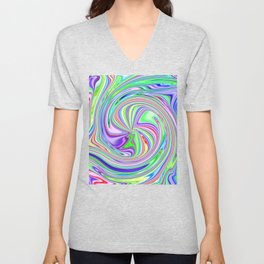 Colorful Round Candy Stripe Vortex Abstract Unisex V-Neck