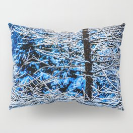 Young Larix Tree In The Winter Forest At Sunset Pillow Sham