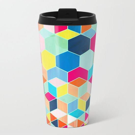 Super Bright Color Fun Hexagon Pattern Metal Travel Mug