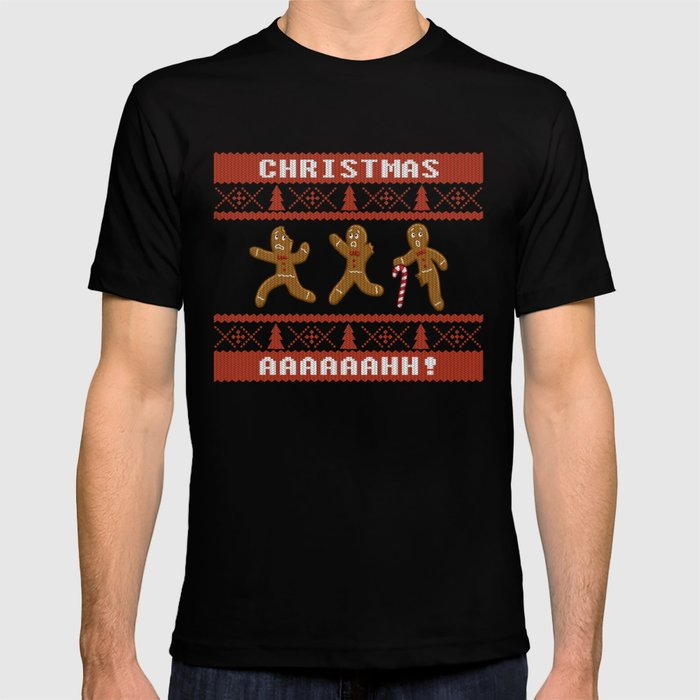 Ugly Christmas Sweater Men.Ugly Christmas Sweater Scared Gingerbread Men Red T Shirt