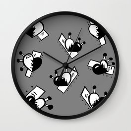 Hearts with Stitches - Black with Gray Wall Clock