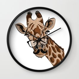 Giraffe moustache Wall Clock