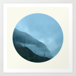 Blue Misty Mountains Art Print