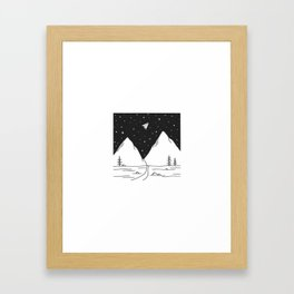 """Fly Away"" - Paper Plane Landscape Framed Art Print"