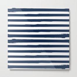 White and Navy Blue Stripes Metal Print