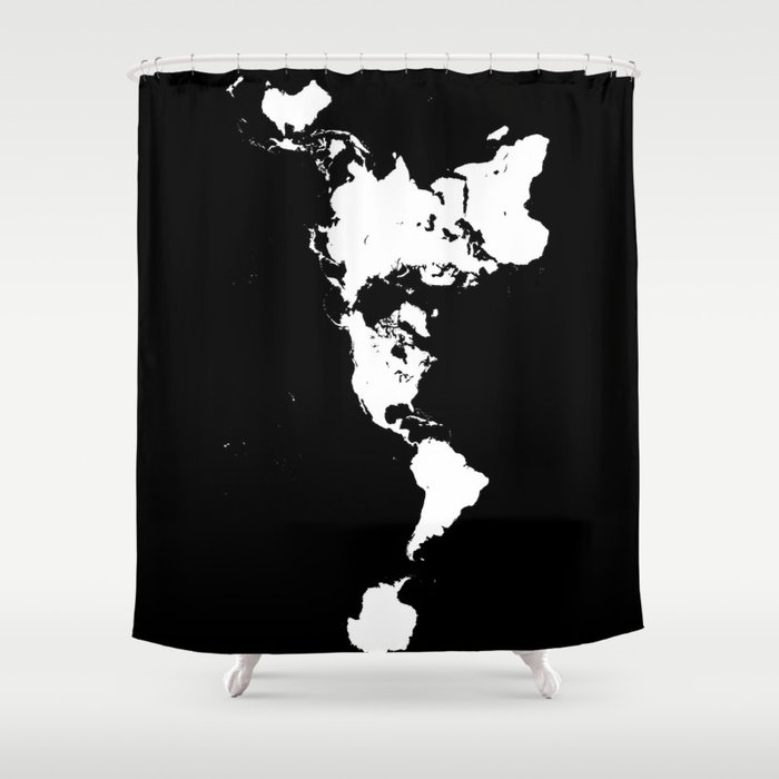 Dymaxion world map fuller projection map minimalist white on dymaxion world map fuller projection map minimalist white on black shower curtain gumiabroncs Gallery