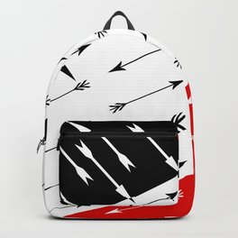 Red black , white pattern Boom 2 . Backpack