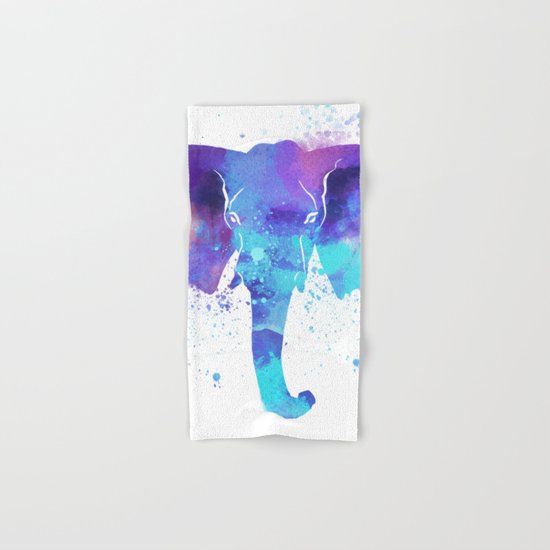 Watercolor Elephant Head Hand & Bath Towel