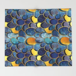 Abstract deep blue Throw Blanket