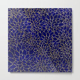 Floral Abstract 44 - Gold and Navy Blue Metal Print
